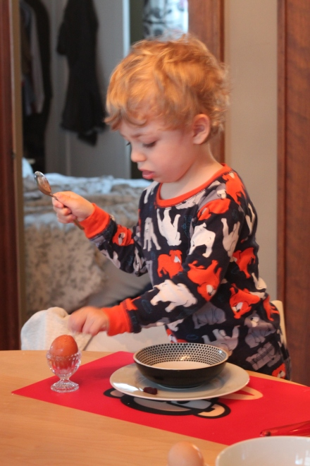 7:30 am - Sunday breakfast, the best part is peeling the egg, not so much eating it :)