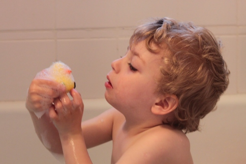 6:30 pm - bath time with duckie